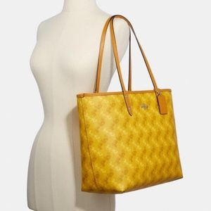 Coach Reversible Yellow Tote Horse Carriage Print